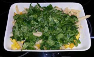 Запеканка с тыквой, пастой и шпинатом