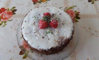 Творожно-шоколадный пирог с творожным кремом