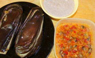 Мильфей из баклажанов с морепродуктами