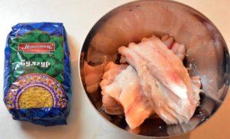 Жареная рыба со сливочным булгуром