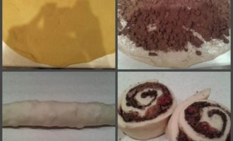 Булочки с шоколадом, вишней и песочной крошкой