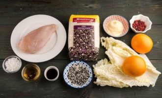 Рисовый салат с курицей в японском стиле