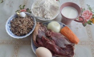 Пельмени с гусем, гречкой и овощами