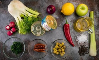 Тунец с овощами