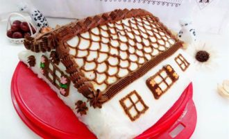"""Блинный торт с вишней """"Домик в деревне"""""""