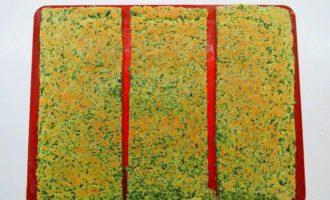 Шпинатные кубики с творожно-грибной начинкой