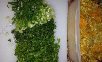 Кабачково-тыквенная запеканка с зеленью и овсяными хлопьями